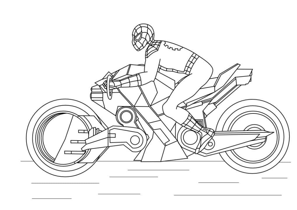 Раскраска Человек паук на мотоцикле - распечатать бесплатно