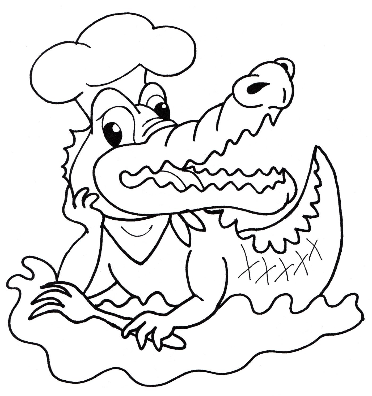 Картинка раскраска крокодил