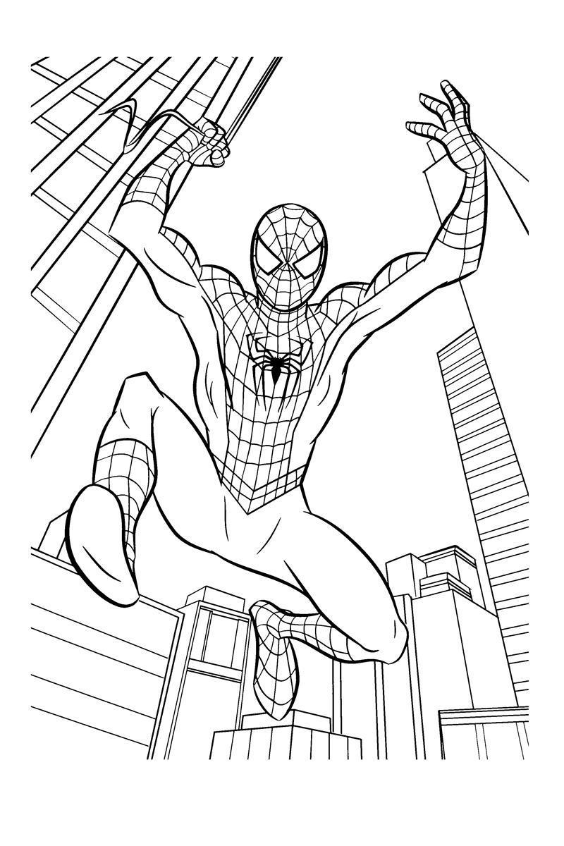 Раскраска Человек паук в прыжке - распечатать бесплатно