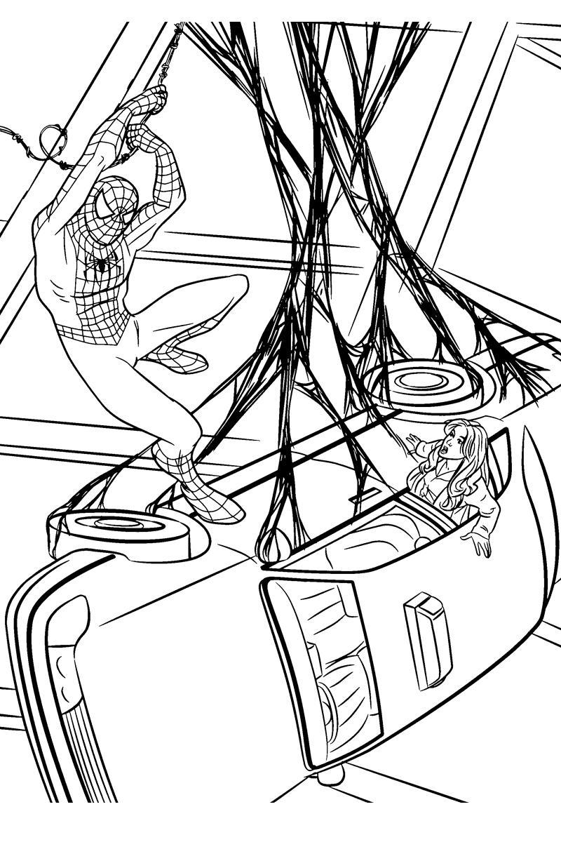 Раскраска Машина в паутине Человека-паука - распечатать ...