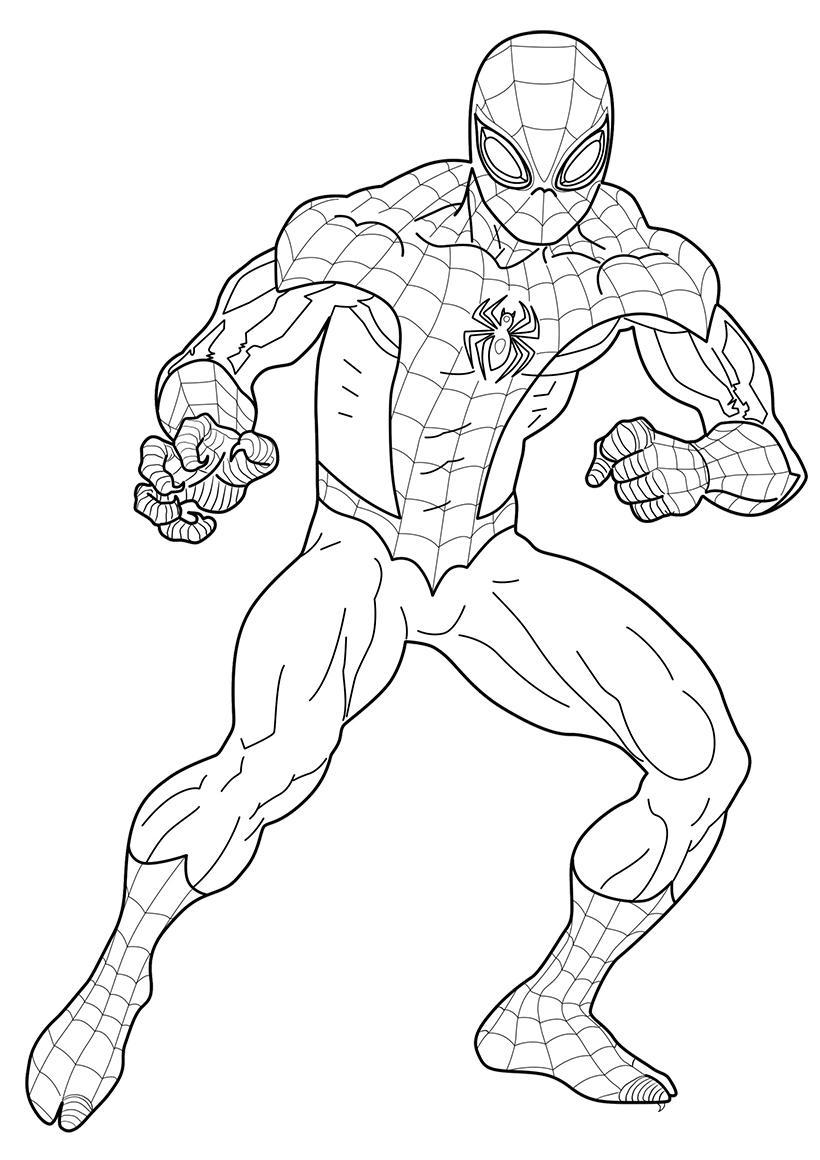 Раскраска Человек паук в полный рост - распечатать бесплатно