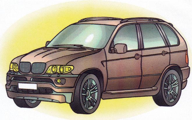 Раскраска BMW X5 - распечатать бесплатно