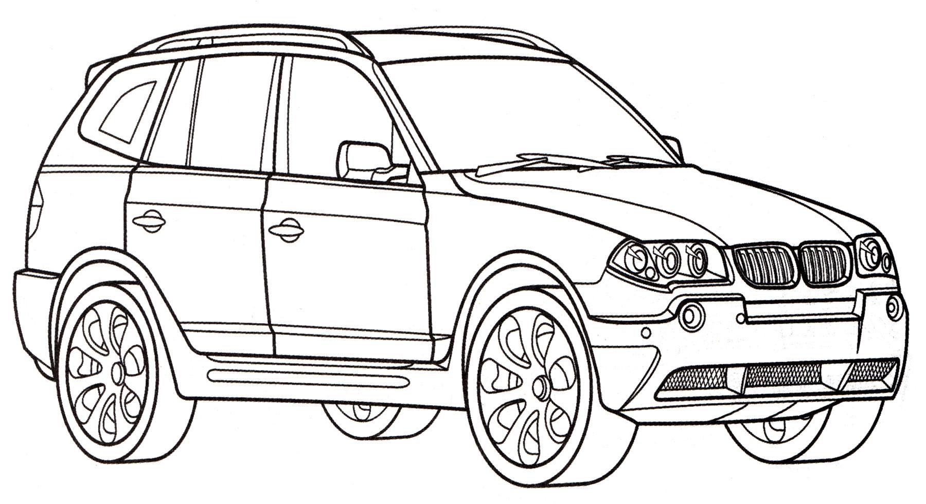 Раскраска BMW X3 - распечатать бесплатно