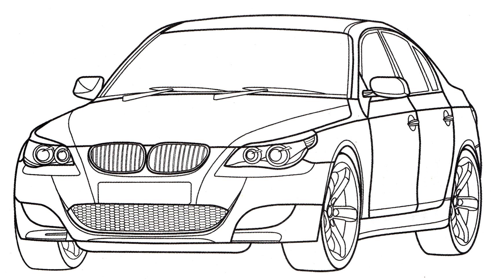 Раскраска BMW M5 E60 - распечатать бесплатно