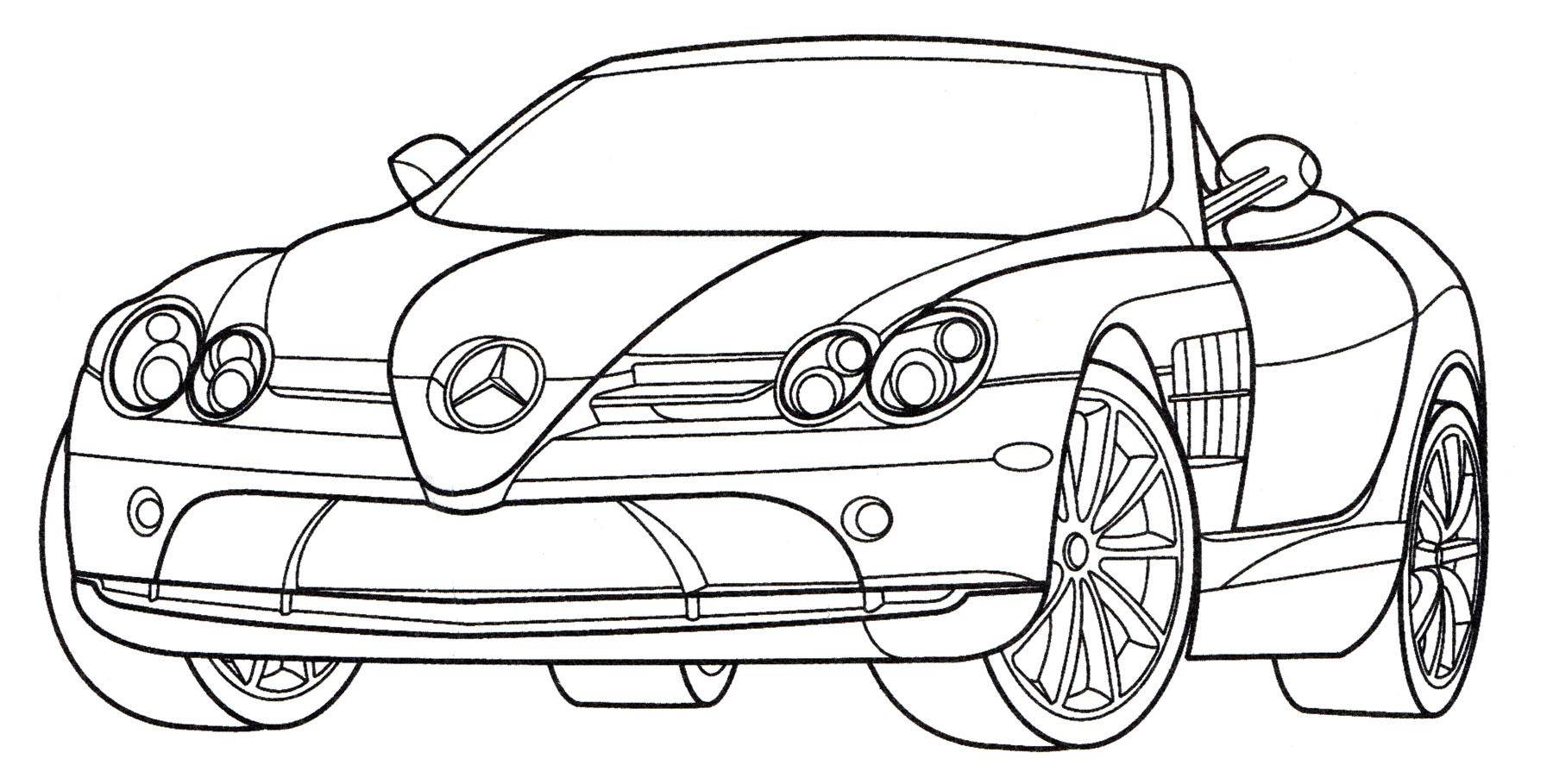 Раскраска Mercedes SLR 722S Roadster - распечатать бесплатно