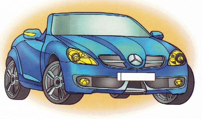 Раскраска Mercedes SLK 350 - распечатать бесплатно
