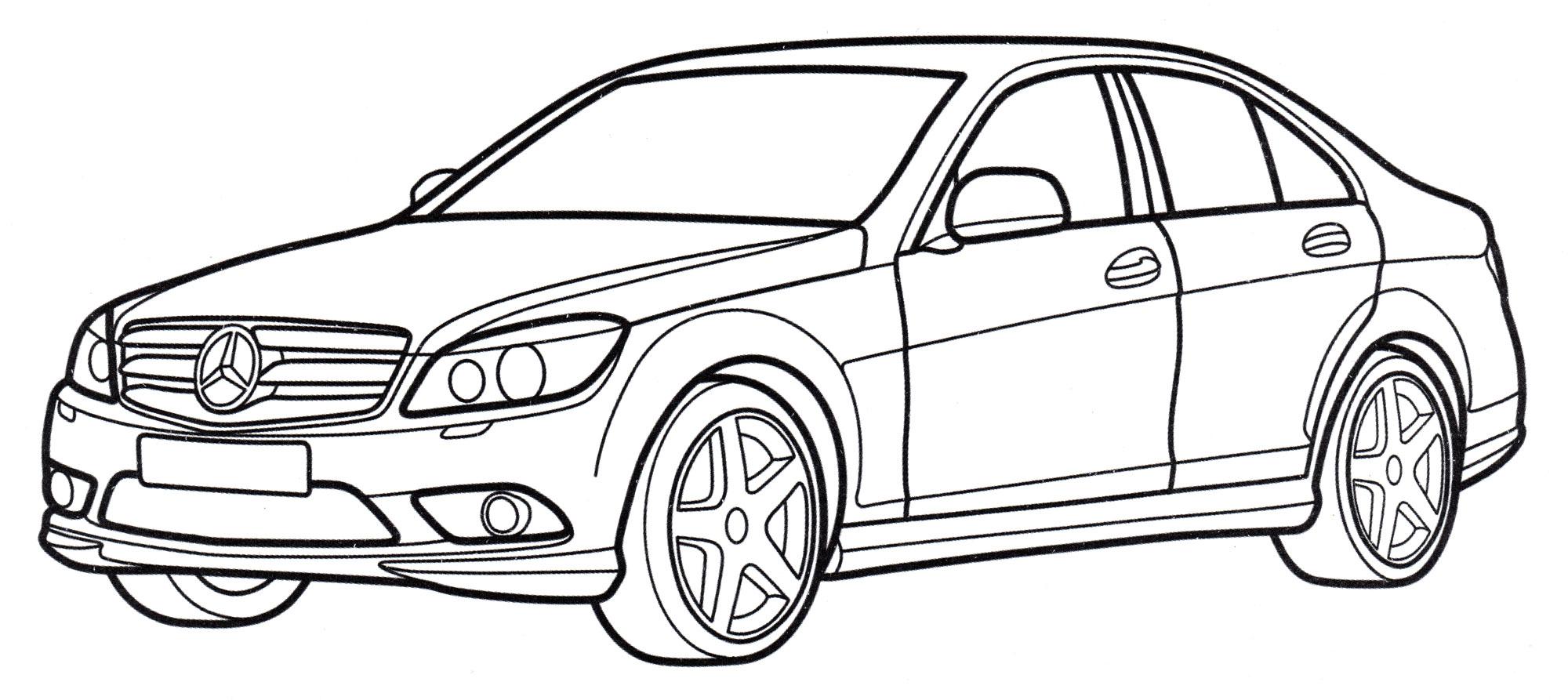 Раскраска Mercedes C-class - распечатать бесплатно