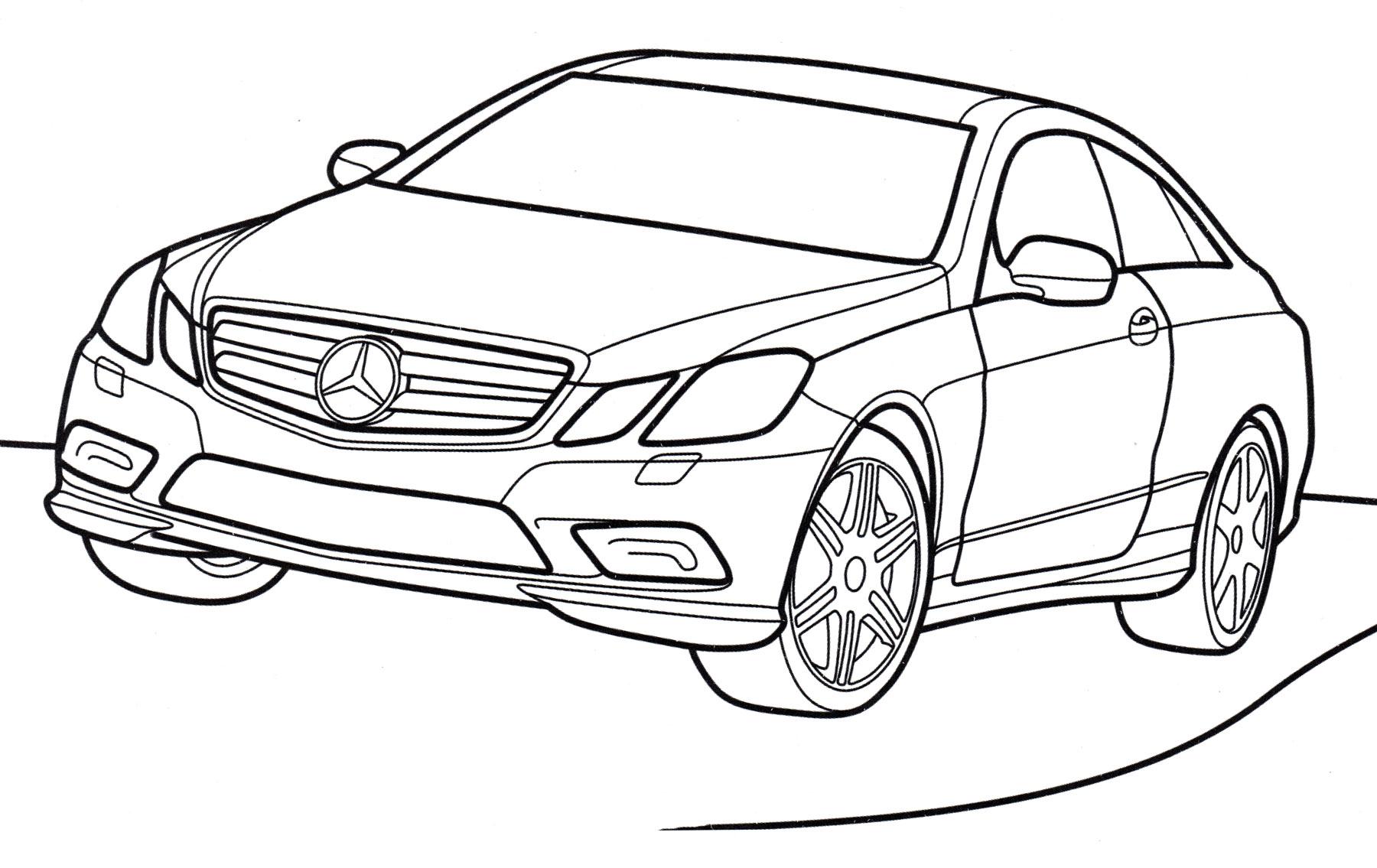 Раскраска Mercedes E-class - распечатать бесплатно
