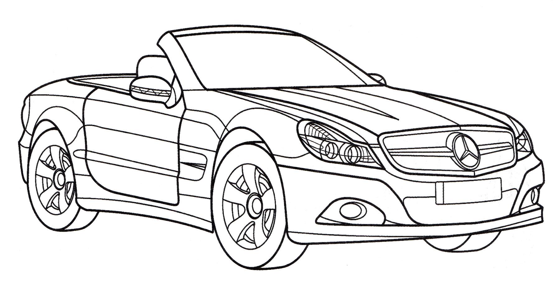 Раскраска Mercedes SL 500 - распечатать бесплатно