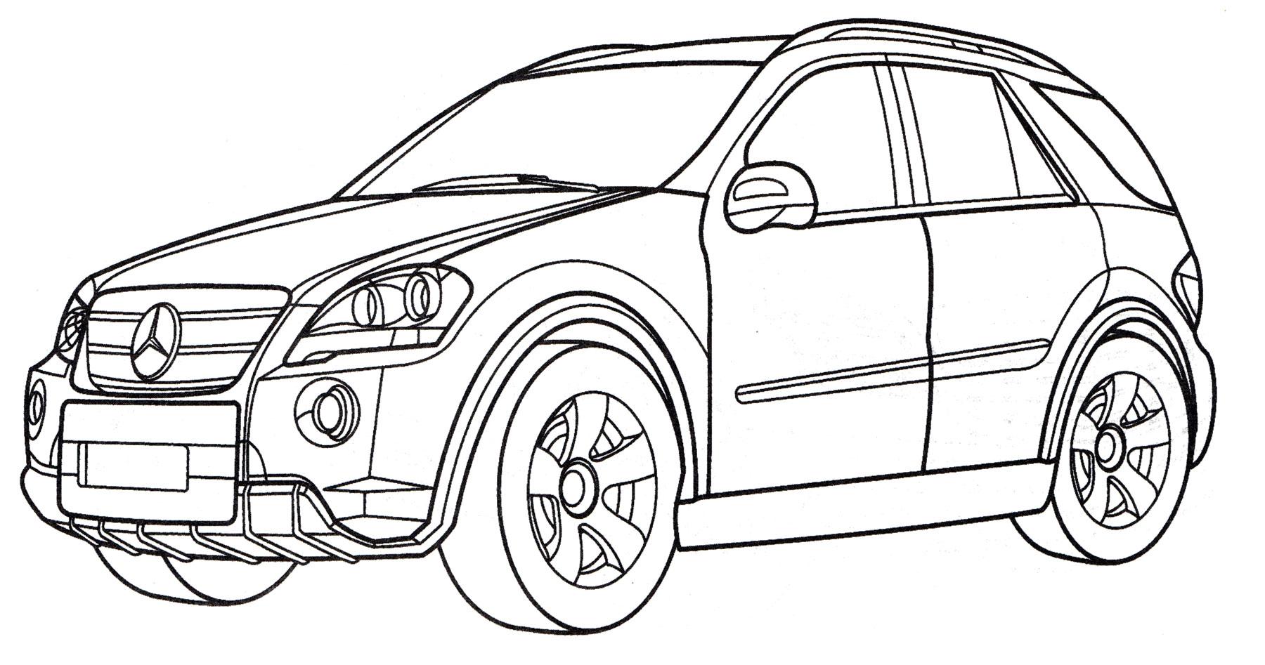 Раскраска Mercedes Benz ML 350 - распечатать бесплатно