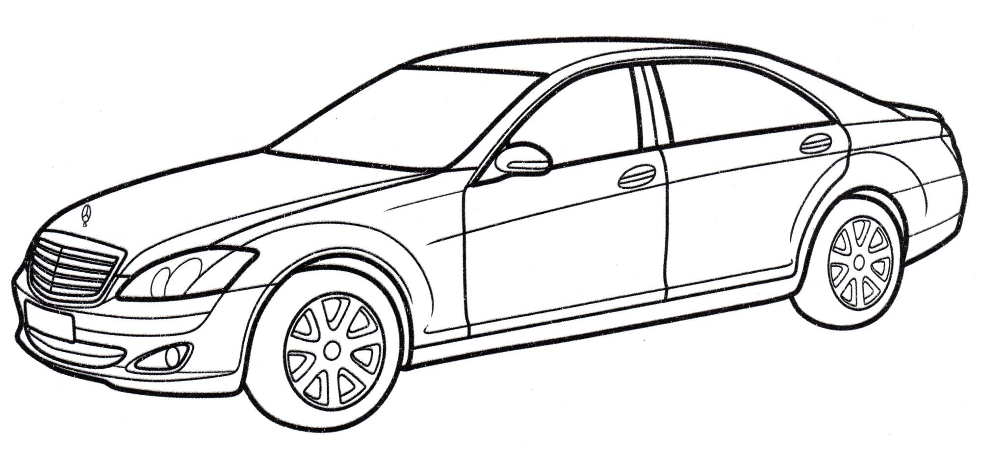 Раскраска Mercedes S-class - распечатать бесплатно