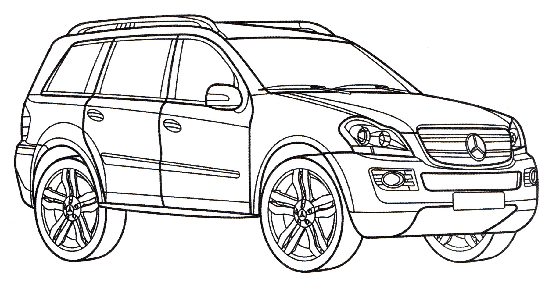 Раскраска Mercedes GL 500 - распечатать бесплатно