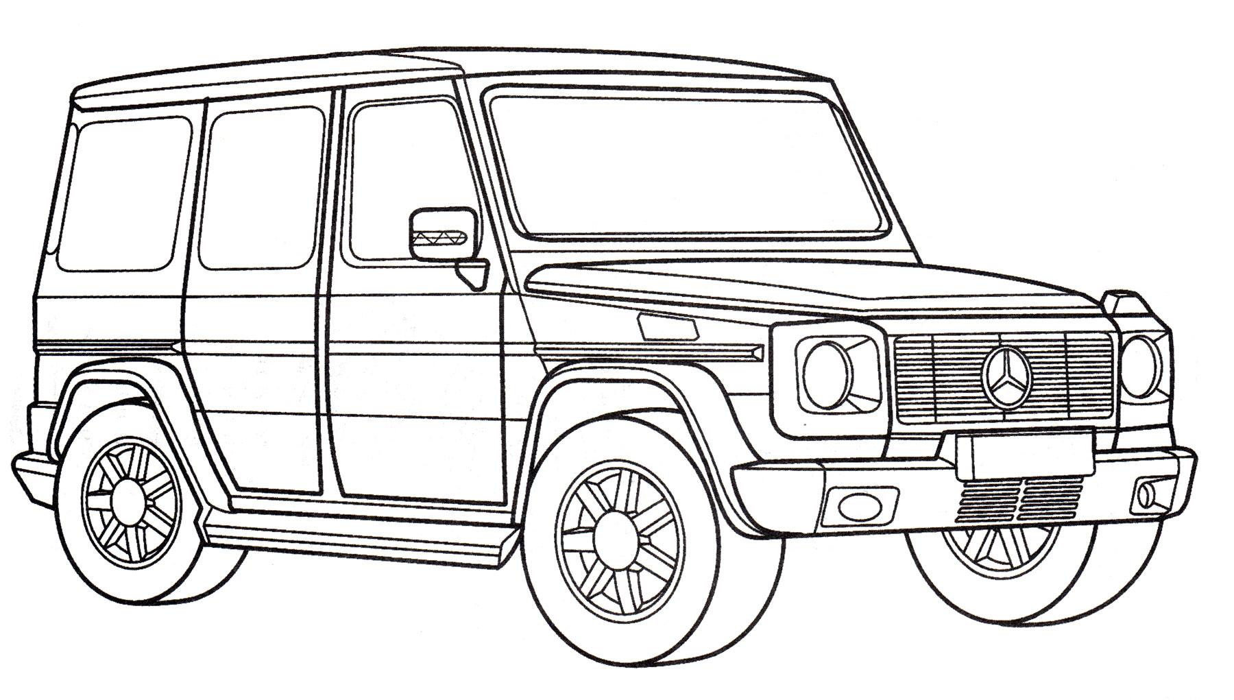 Раскраска Mercedes G 55 AMG - распечатать бесплатно