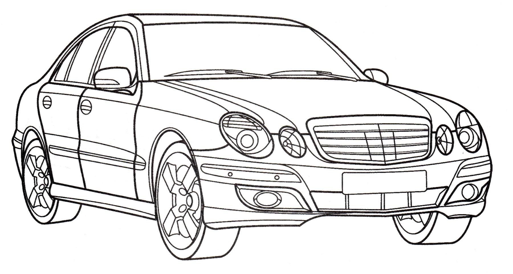 Раскраска Mercedes E350 - распечатать бесплатно