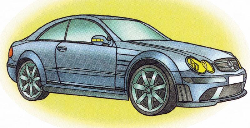Раскраска Mercedes CLK 550 - распечатать бесплатно