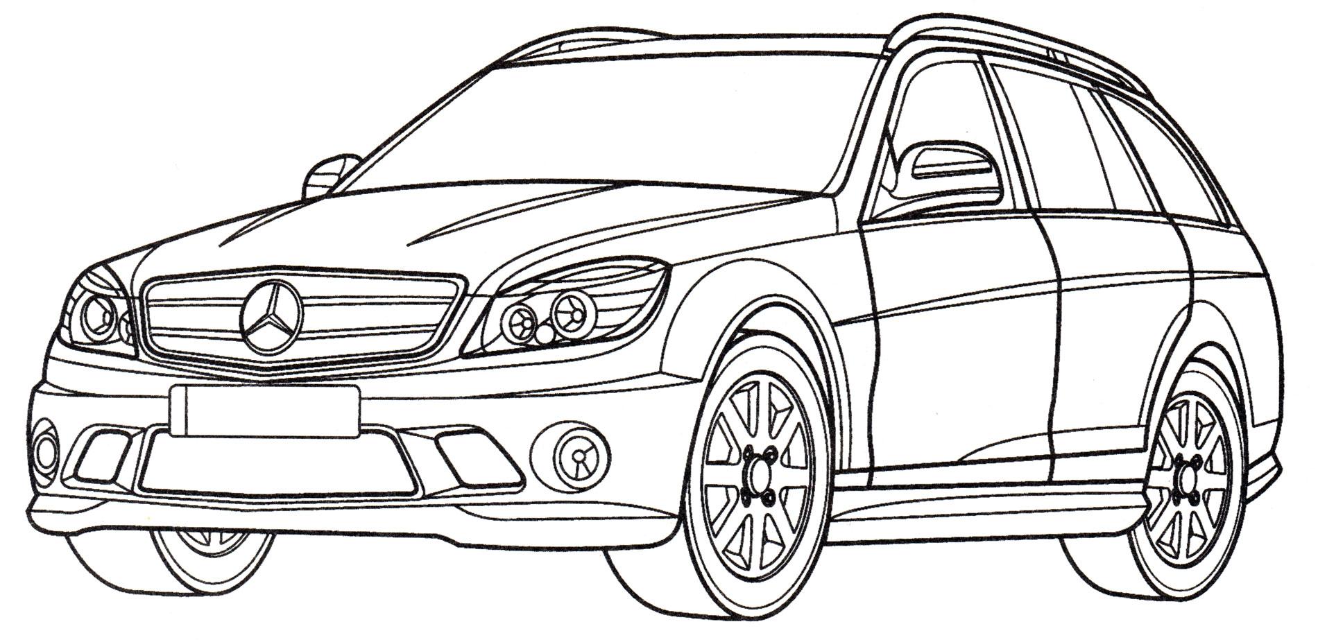 Раскраска Mercedes C63 AMG - распечатать бесплатно