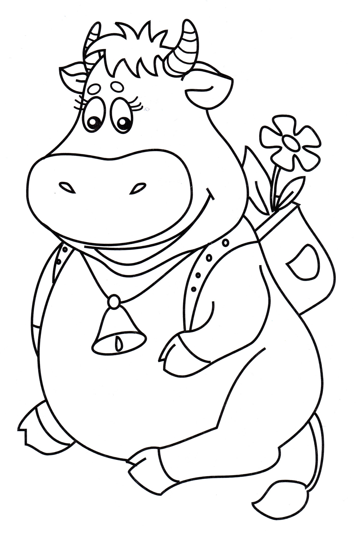 Раскраска Милая корова - распечатать бесплатно
