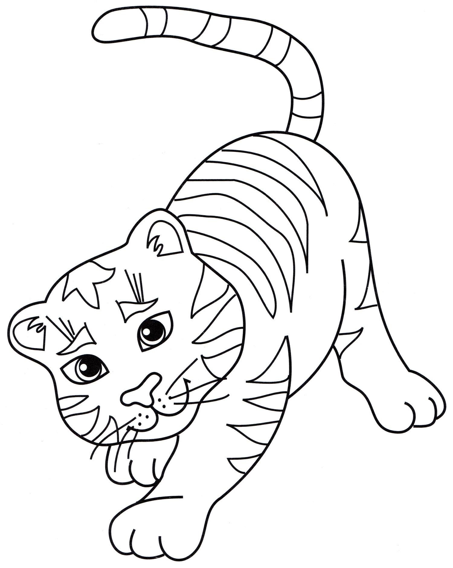 Рисунок смешного тигренка разукрашки