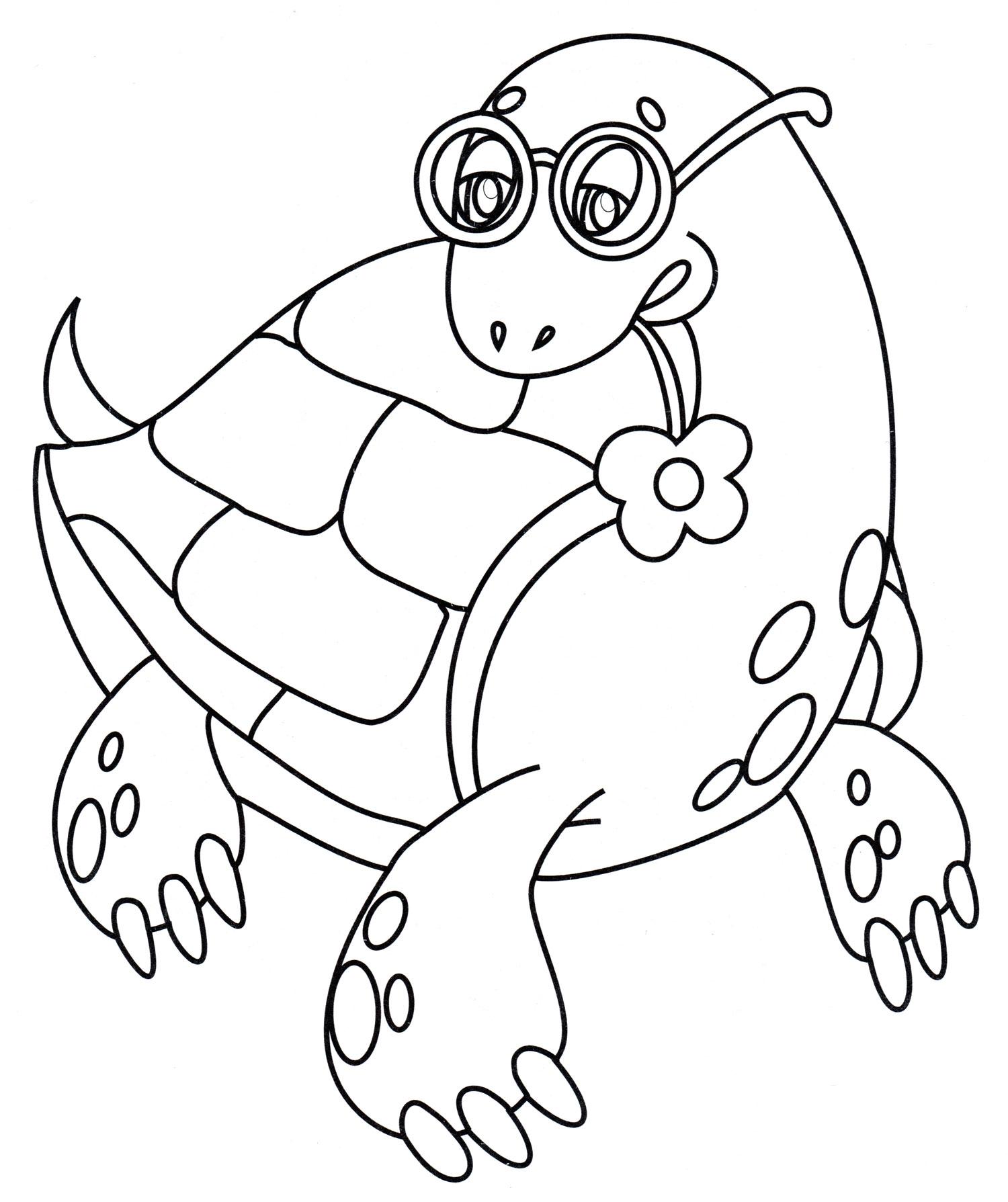 Раскраска Черепашка в очках - распечатать бесплатно