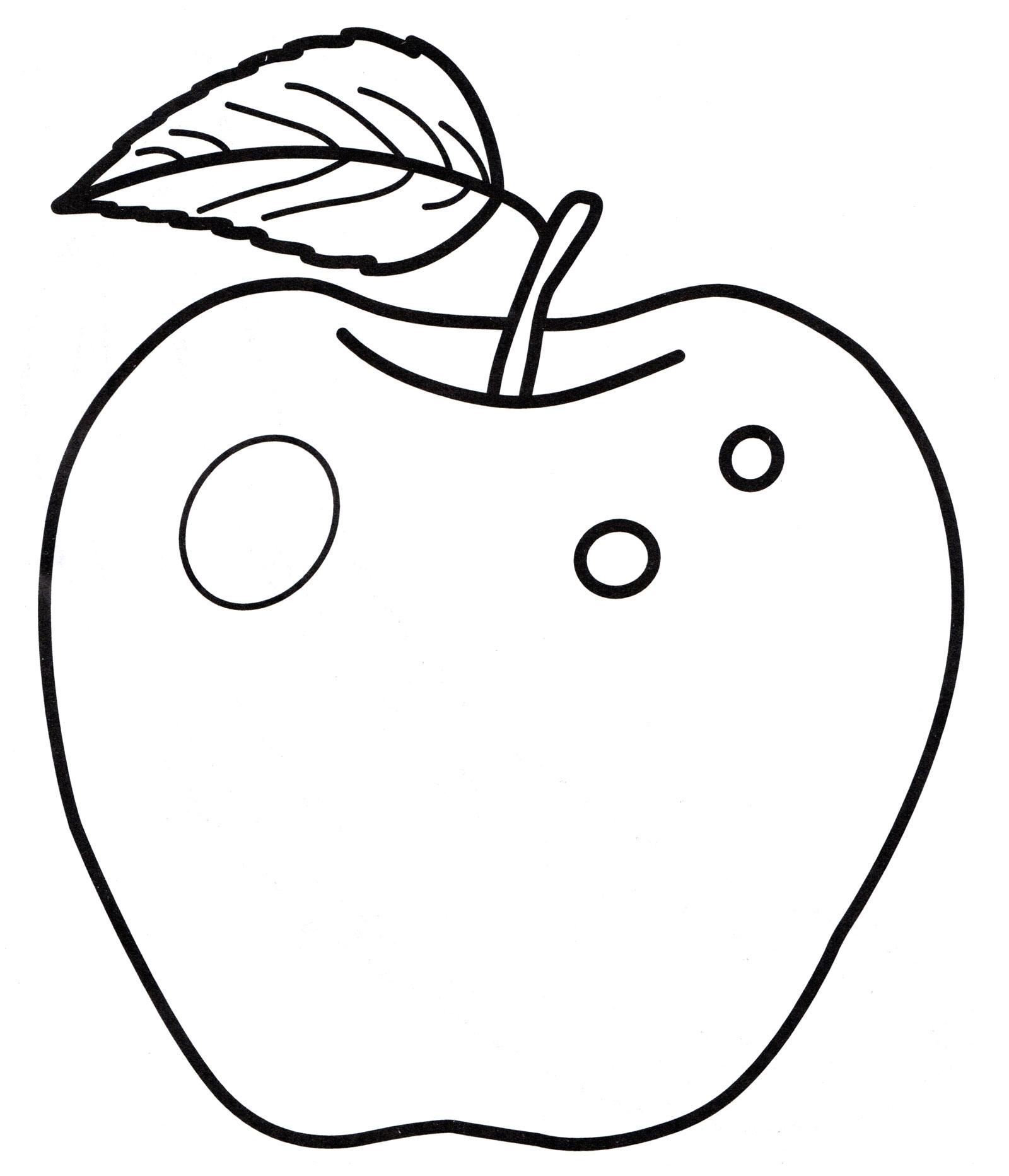 Раскраска Сочное яблоко с листочком - распечатать бесплатно