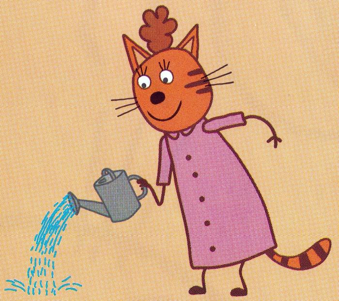 Раскраска Мама с лейкой | Раскраски Три кота