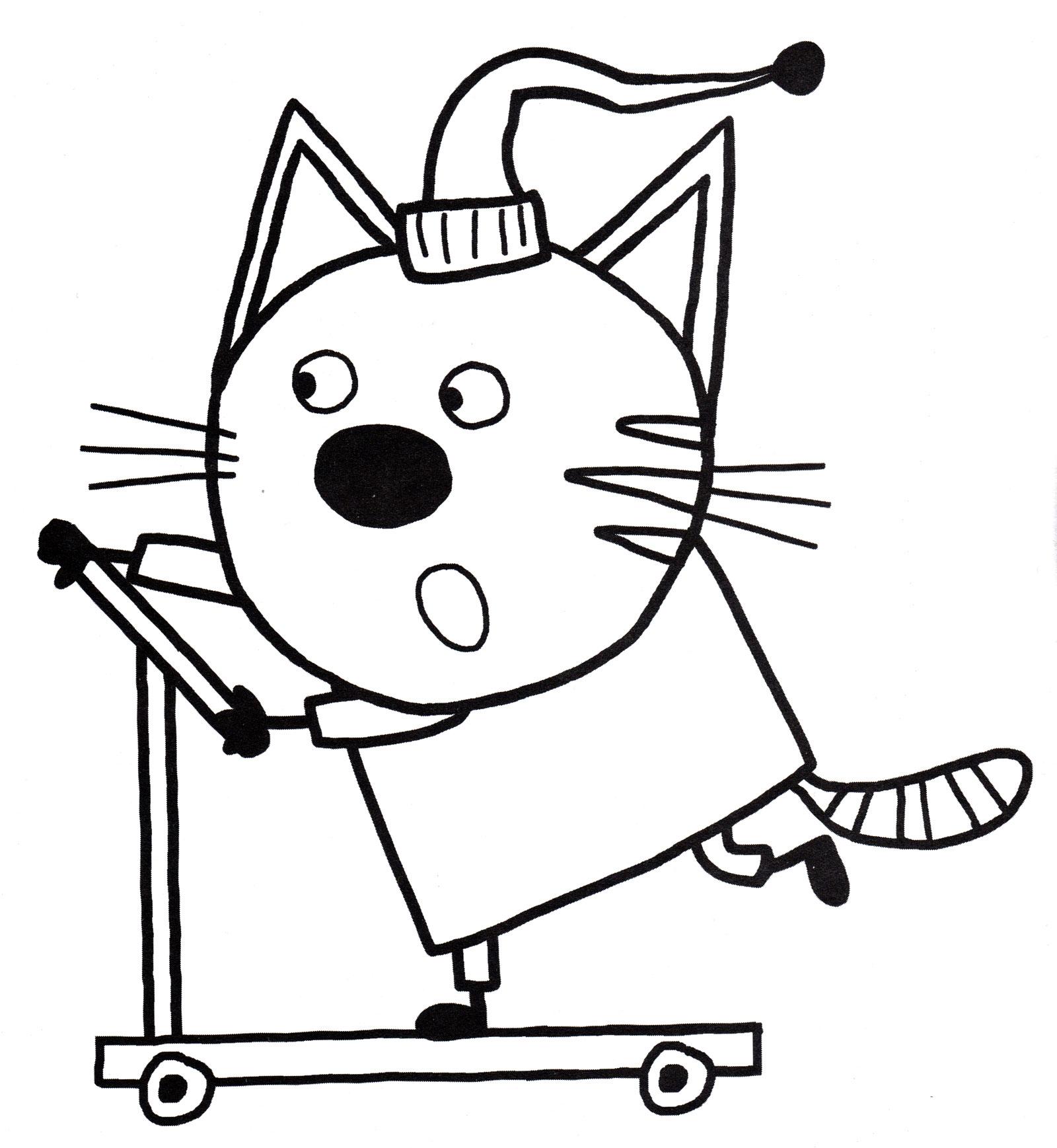Раскраска Компот на самокате | Раскраски Три кота