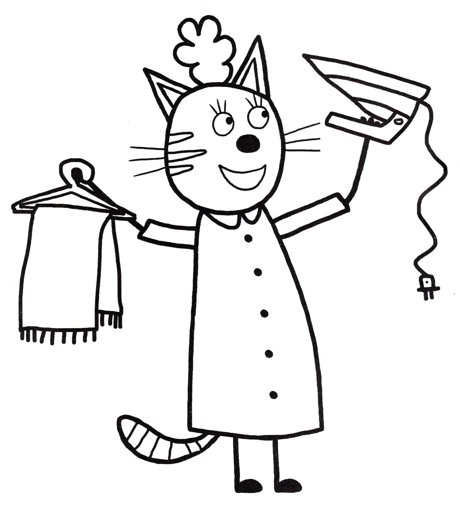 Раскраска Мама хозяюшка | Раскраски Три кота