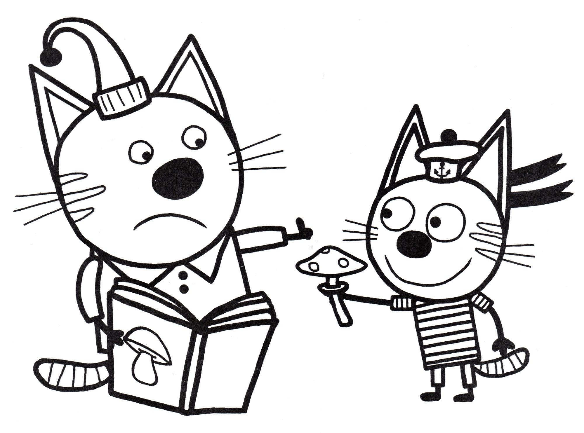 Раскраска Компот и Коржик собирают грибы | Раскраски Три кота