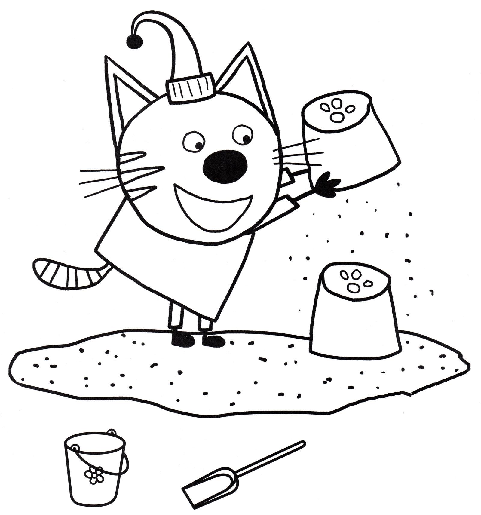 Раскраска Компот играет в песочнице | Раскраски Три кота