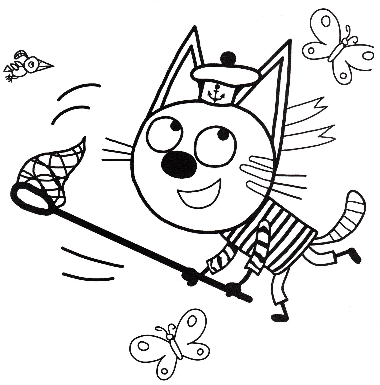 Раскраска Коржик ловит бабочек | Раскраски Три кота