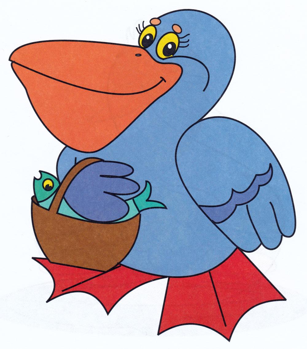 Раскраска Пеликан и рыбка - распечатать бесплатно