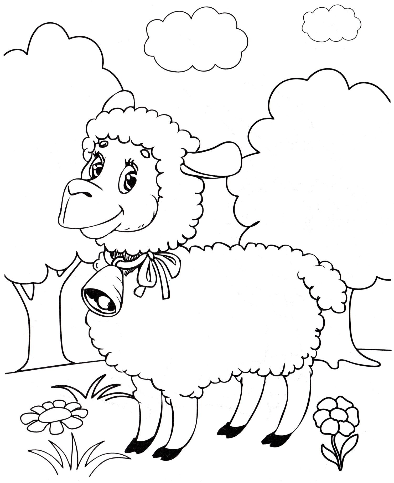 Раскраска Овечка на лугу - распечатать бесплатно