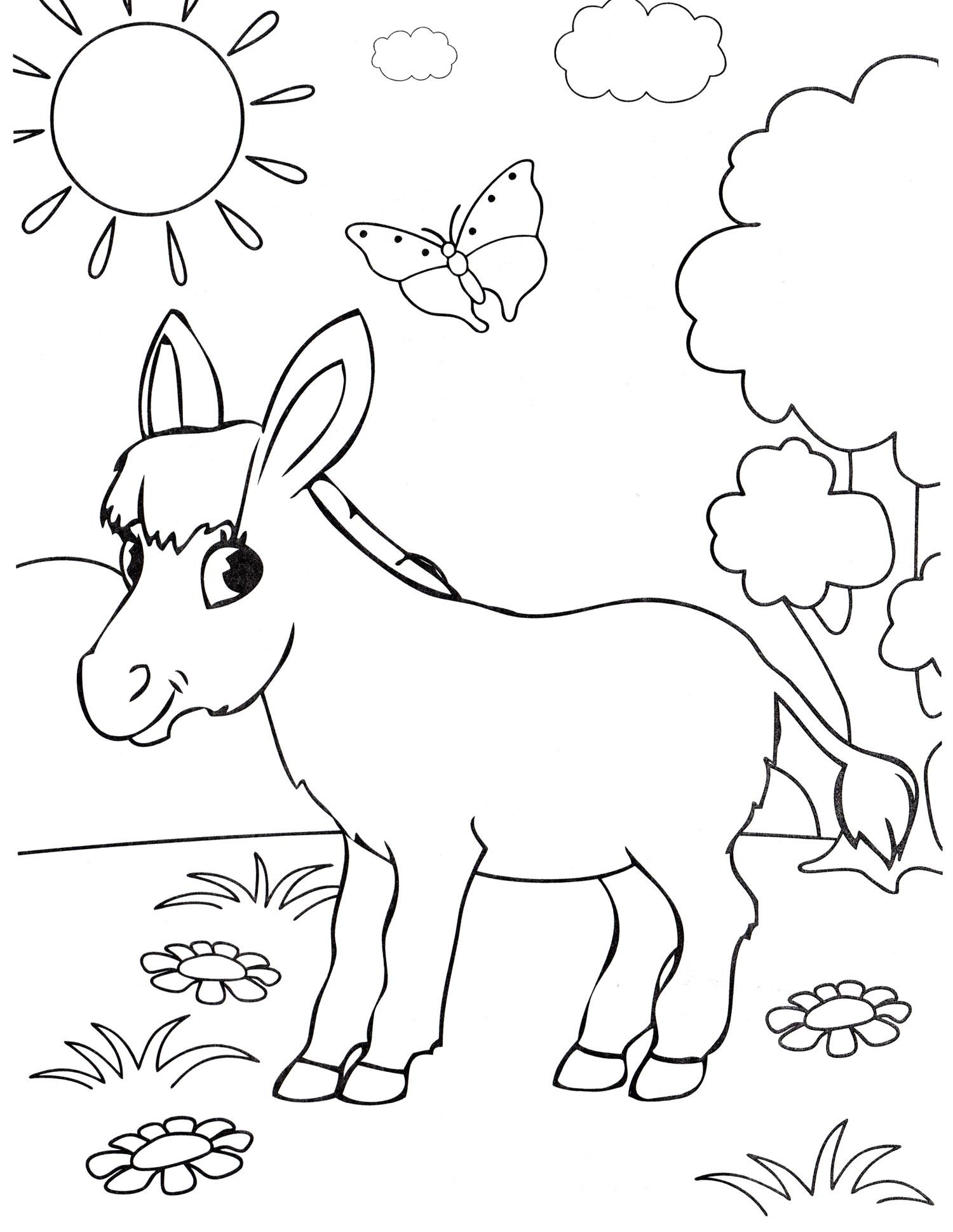 Раскраска Милый ослик - распечатать бесплатно