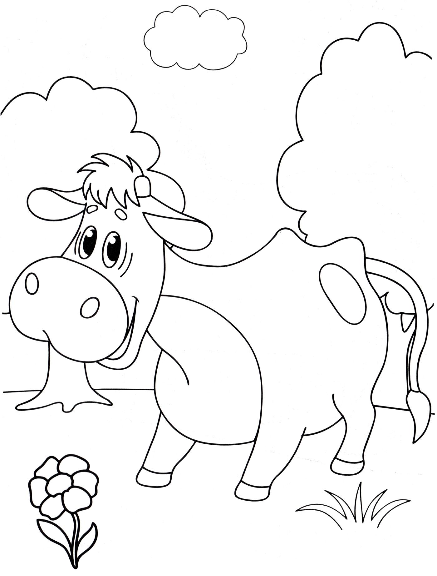Раскраска Милая коровка - распечатать бесплатно