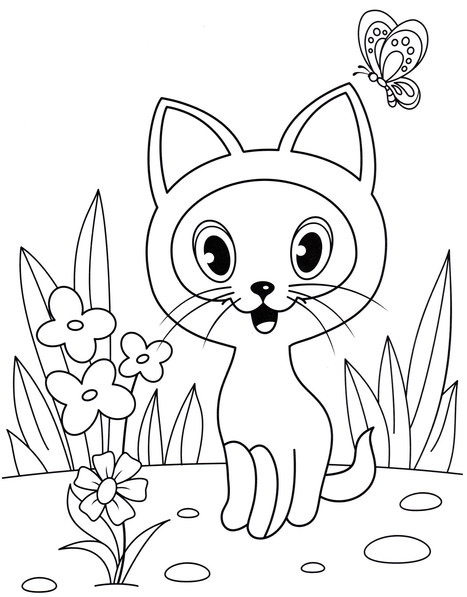 Раскраска Котенок Гав на лужайке - распечатать бесплатно