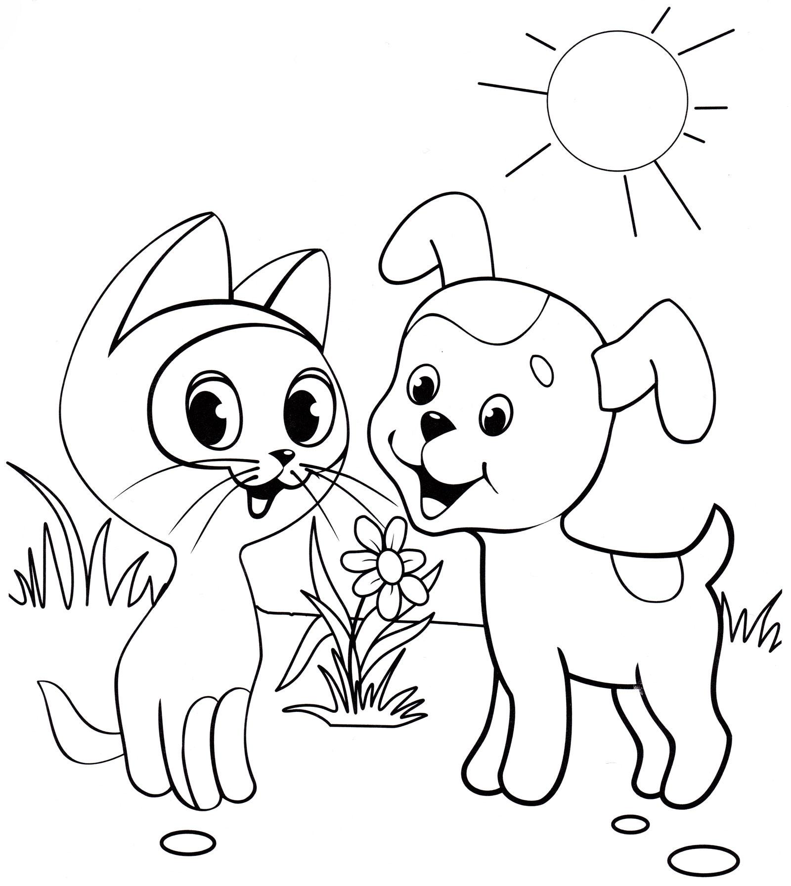 Раскраска Котенок Гав и щенок - распечатать бесплатно