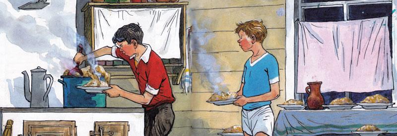 Иллюстрации к рассказу носова мишкина каша