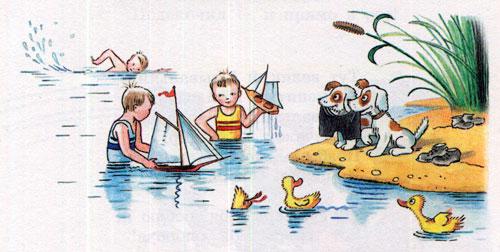 Мойдодыр - мальчики плавают в реке