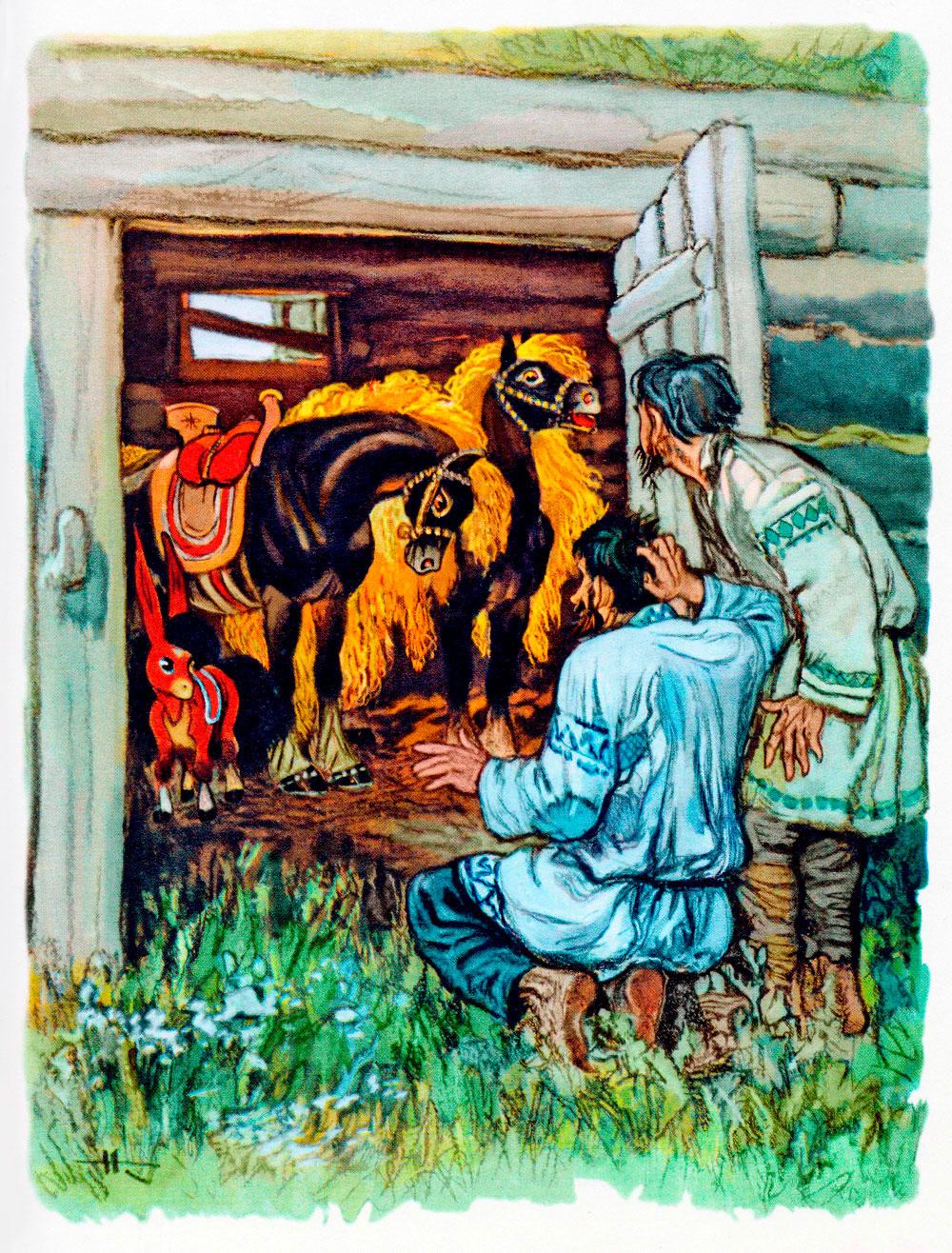 Братья смотрят на коней