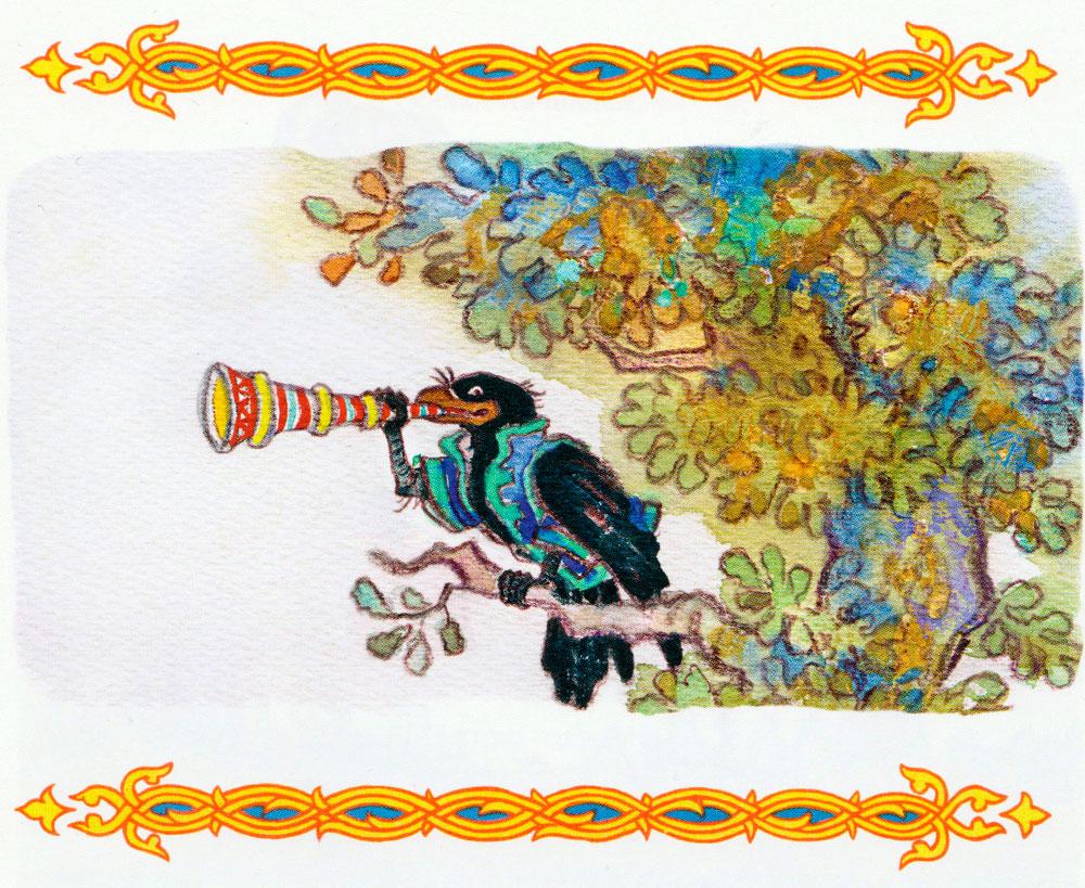Ворон играет на трубе
