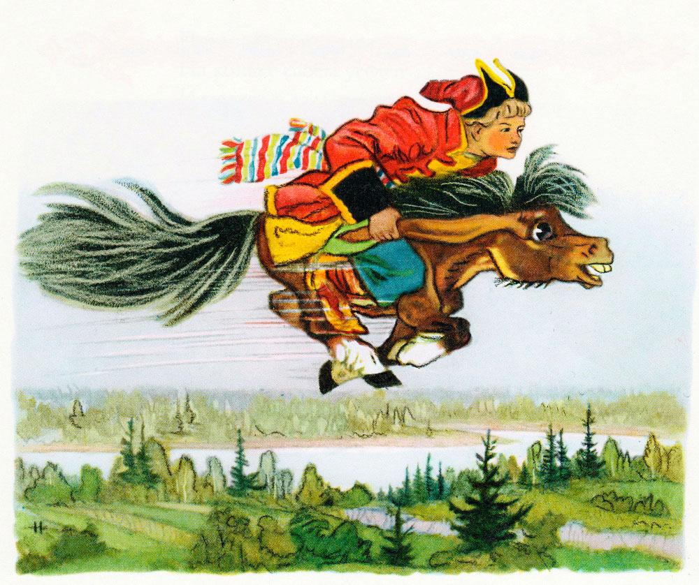 Иван верхом на коньке-горбунке
