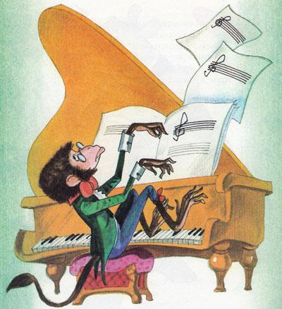 Обезьяна играет на фортепьяно
