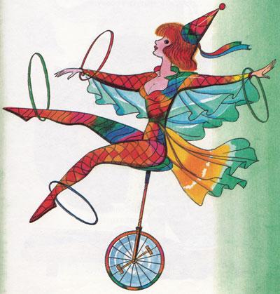 Девушка на одном колесе