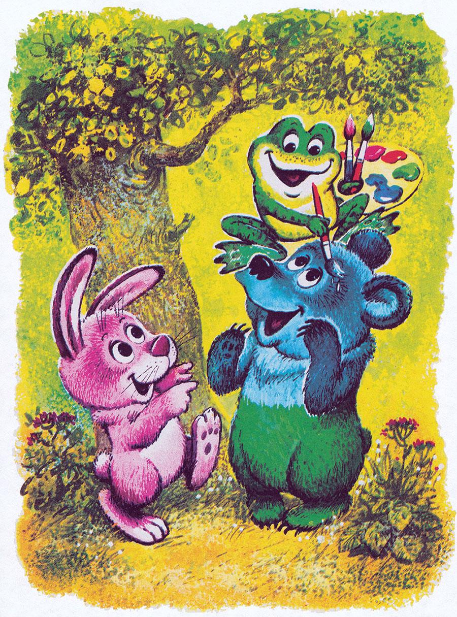 при разноцветные зверята с картинками сетка рисунок
