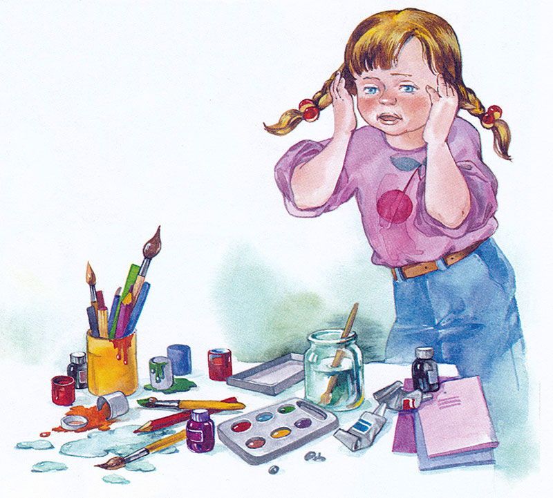 Беспорядок на столе у девочки