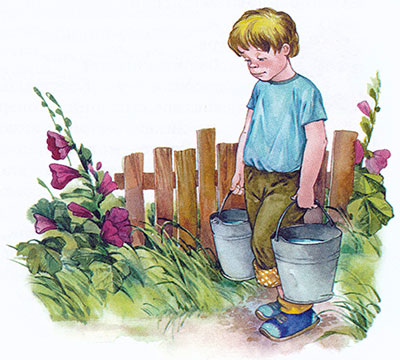 Мальчик несет воду в ведрах