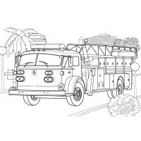 Раскраска Пожарная машина Mercedes - распечатать бесплатно