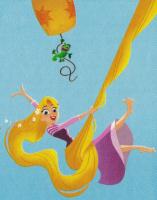 Раскраска Веселая принцесса Рапунцель - распечатать бесплатно